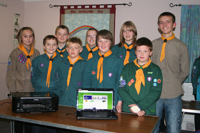 Scouts & Explorers from 3rd Carluke with new IT equipment